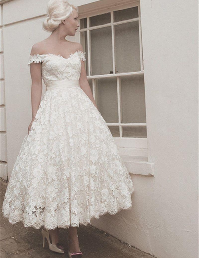 Short wedding dresses new off shoulder ivory lace dresses of
