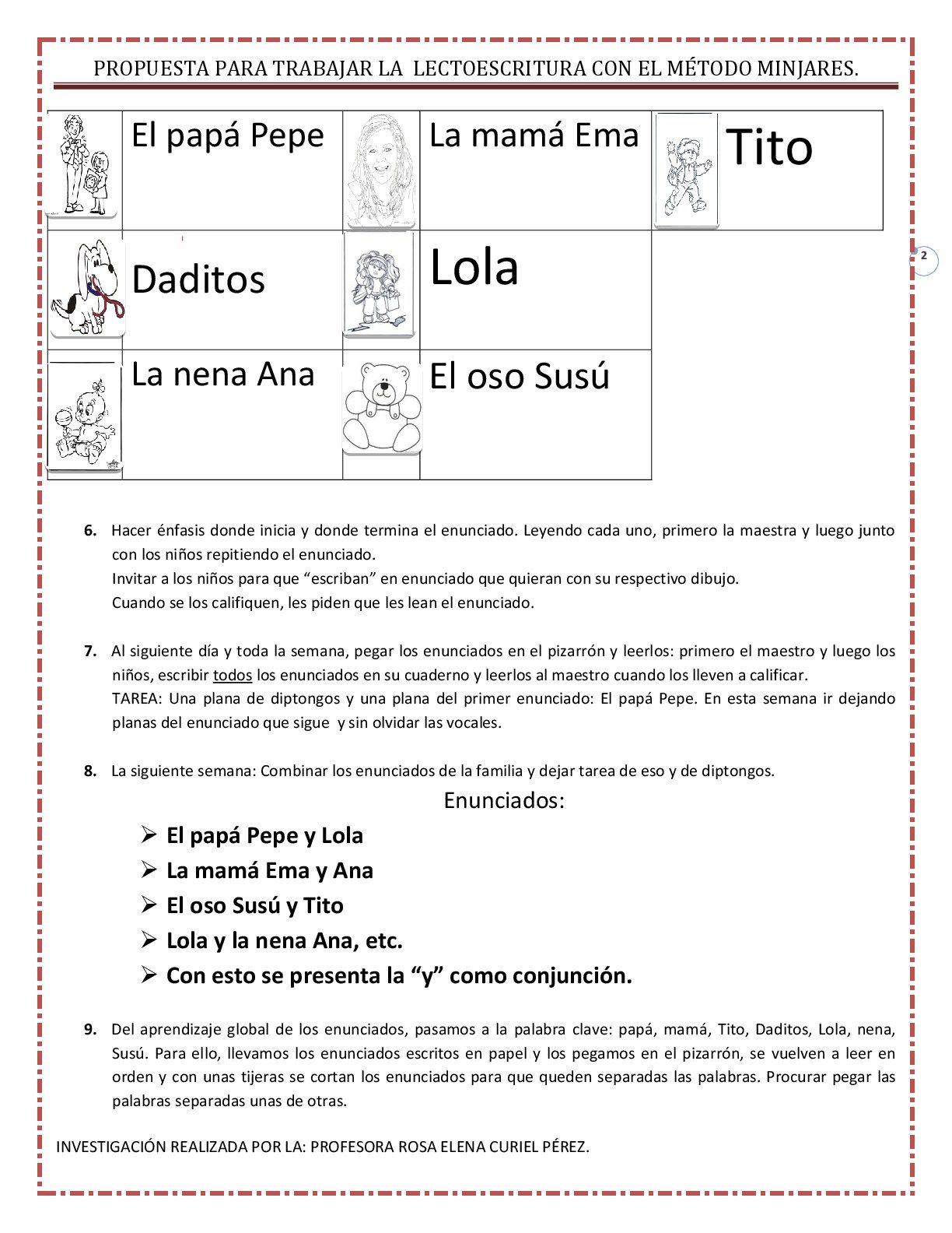 Propuesta para trabajar la lectoescritura con el MÉTODO MINJARES ...