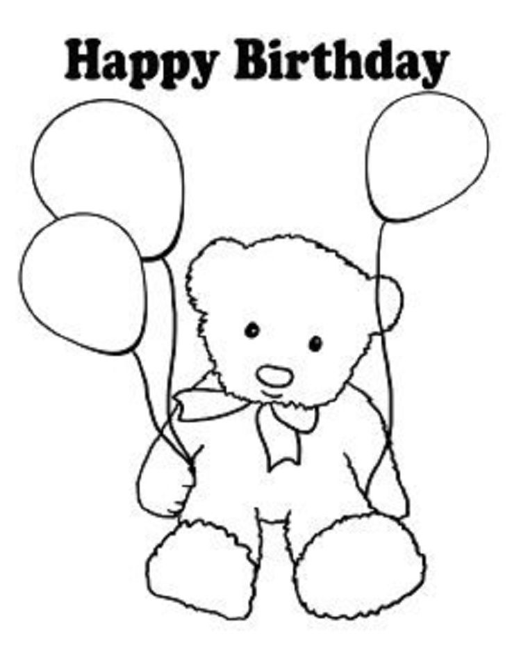 teddy bear birthday coloring pages in 2019   Happy ...