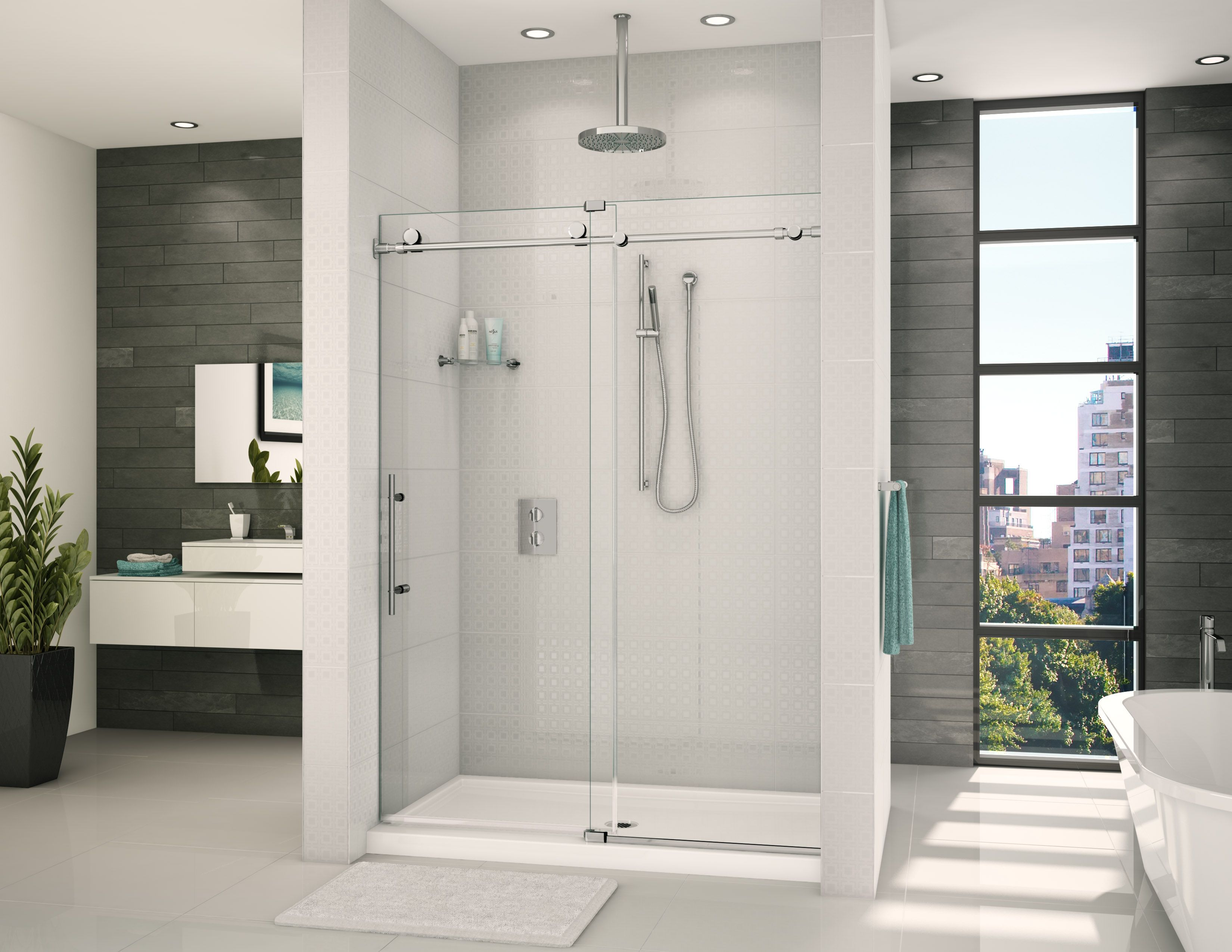 Glass Bathroom Ideas: Graceful White Bathroom With In-line Shower Door By