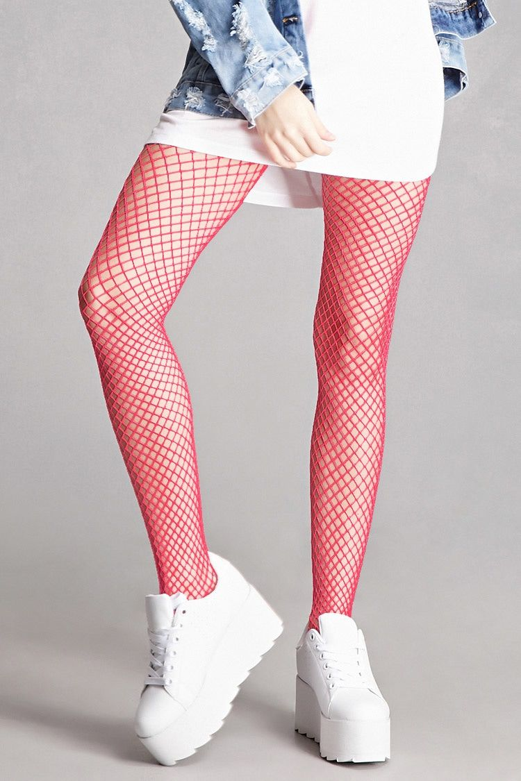 1b7db20a6f330 A pair of fishnet tights by Leg Avenue™ featuring a neon pink color,  and an elasticized waist.