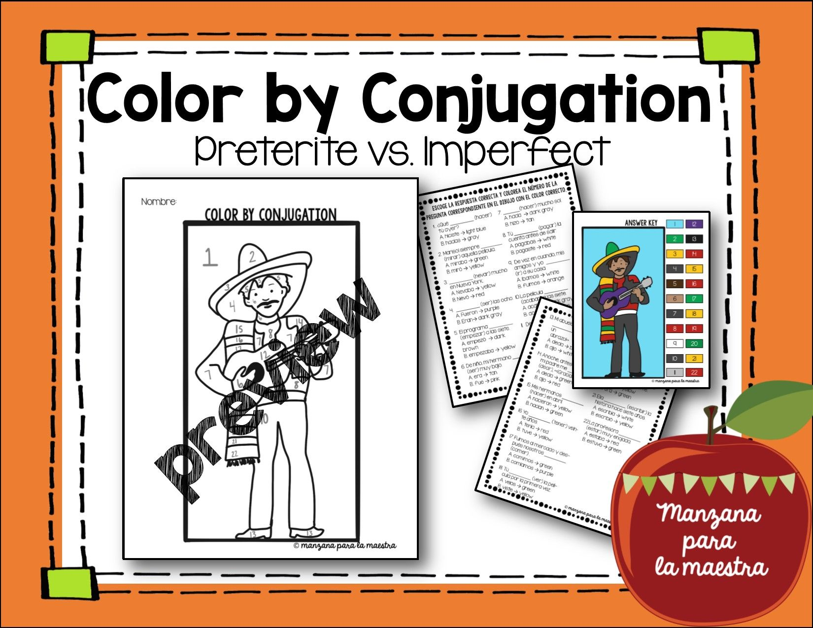 Product Preview Verb Worksheets Preterite Thanksgiving Worksheets [ 1275 x 1650 Pixel ]