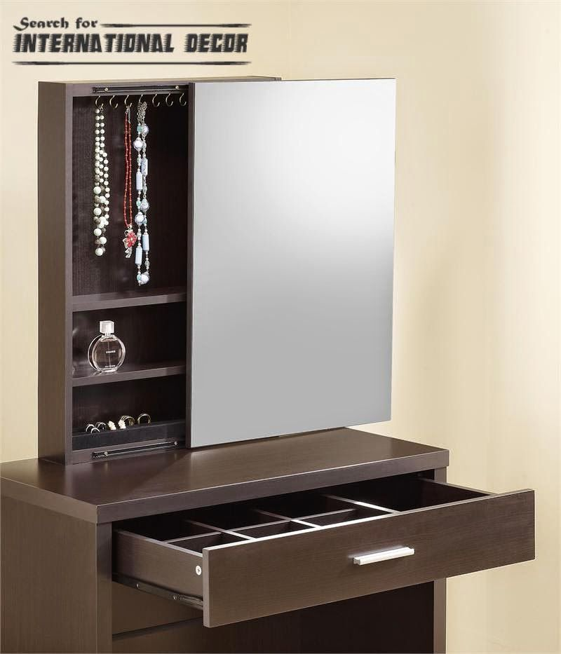Dark Brown Dressing Table Designs With Single Drawer With Silver Handle And Square Sliding Dressing Table Dressing Table Design Dressing Table Mirror