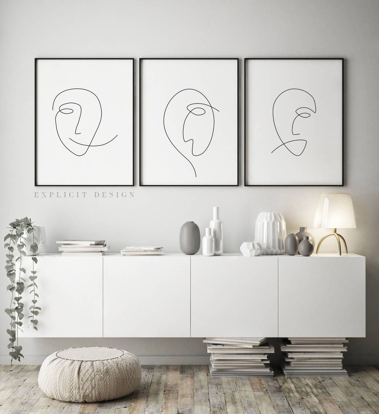 Printable abstract face set of 3 one continuous line print black white artwork original minimalist faces poster drawing wall art gallery