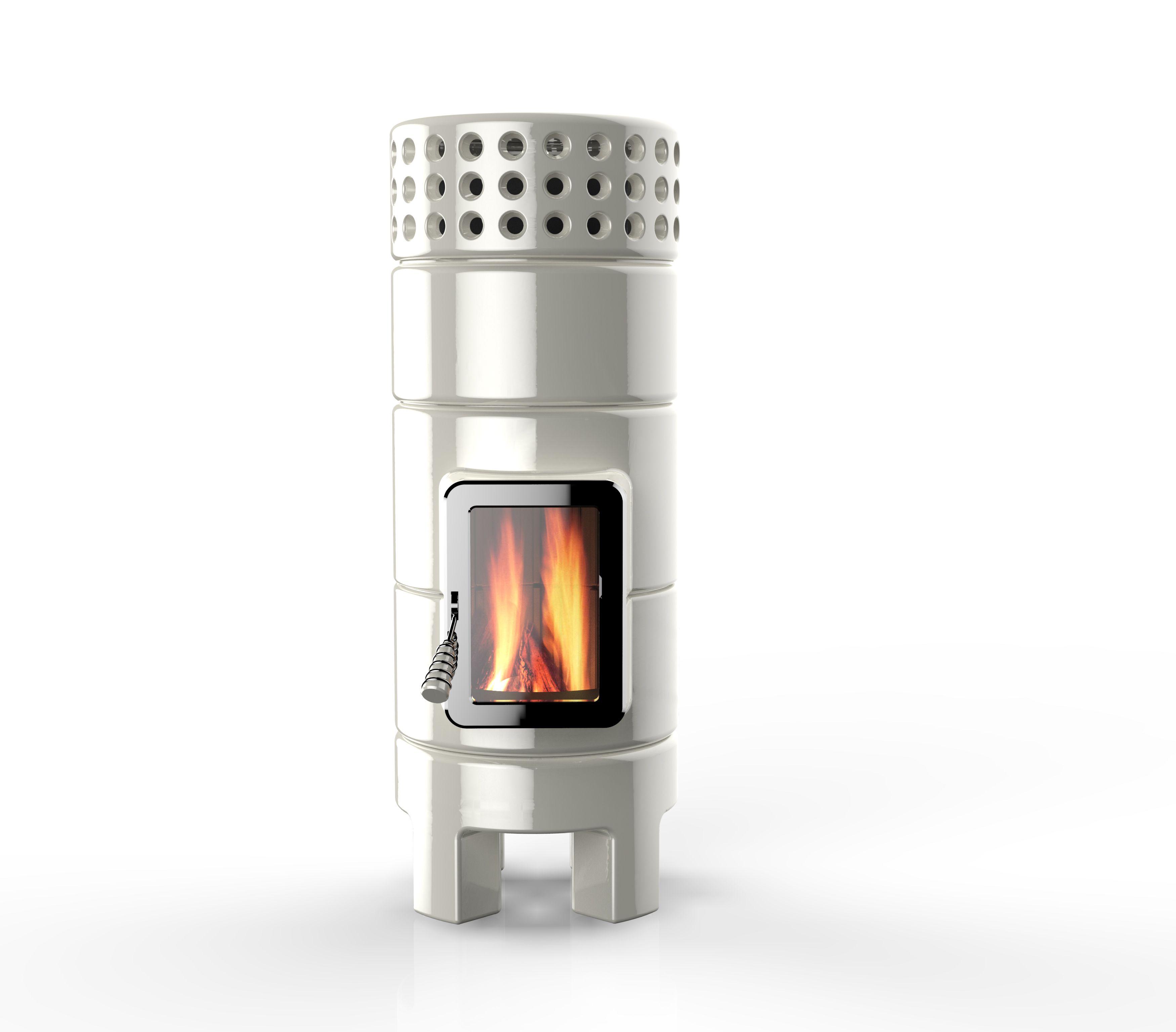 Round Stack slim 2nd size shiny white Wood stove