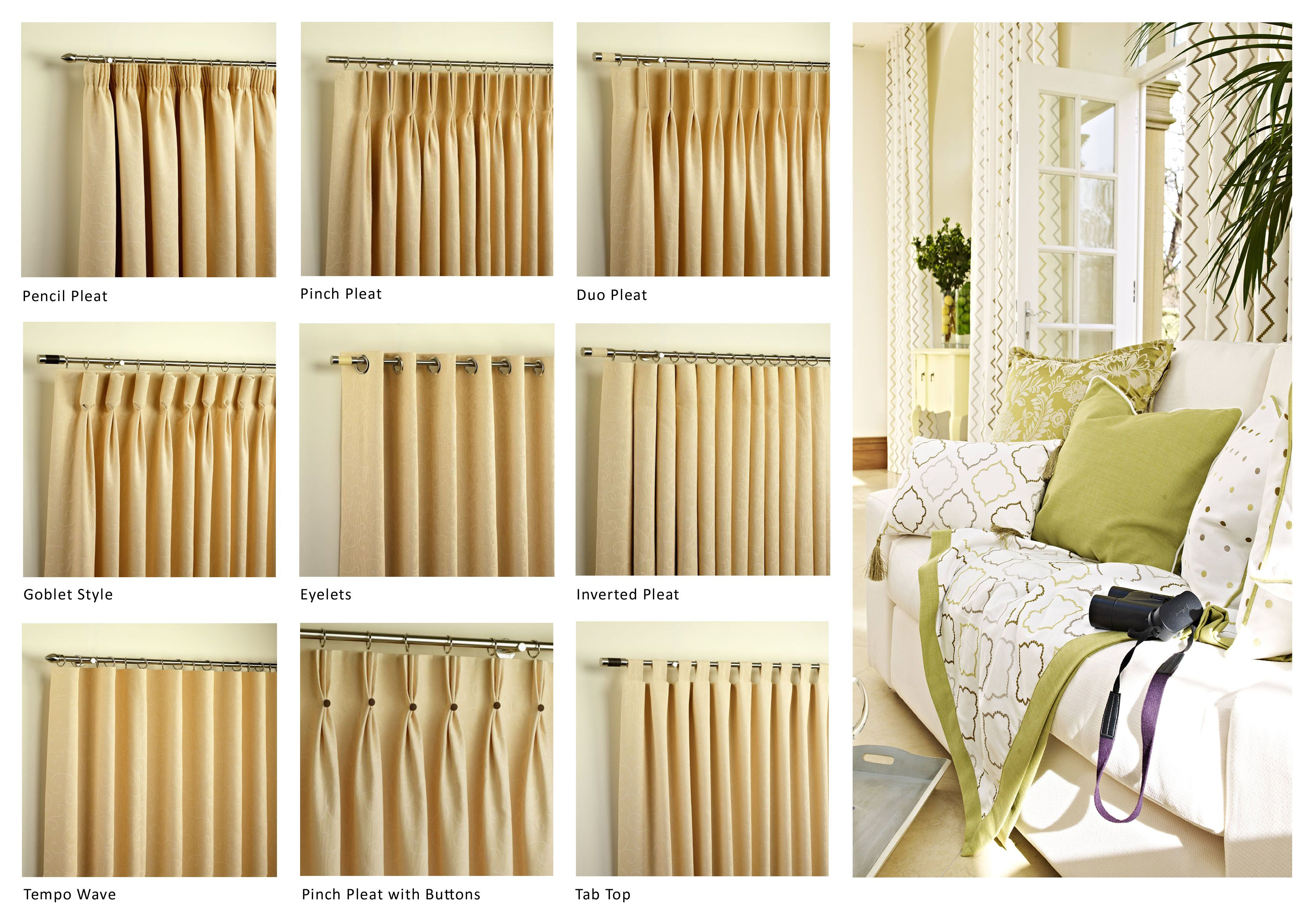 Drapes UK Curtain Heading Pictures with different styles