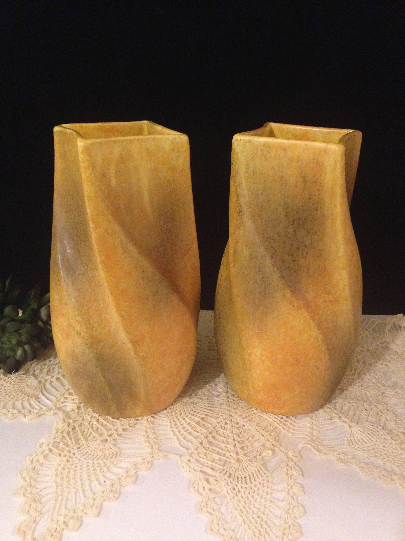 Mid Century Modern Haeger Usa Pottery Vase Pair ~ Set