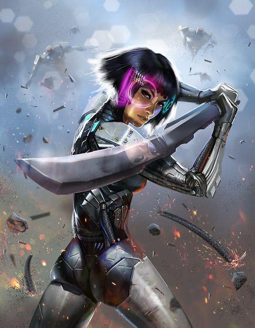 Cyber sword girl | Fantasy girl, Concept art, Futuristic art