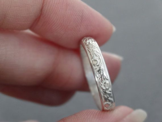 Embossed Sterling Silver Ring Floral Pattern Wire by bluebirdss ...