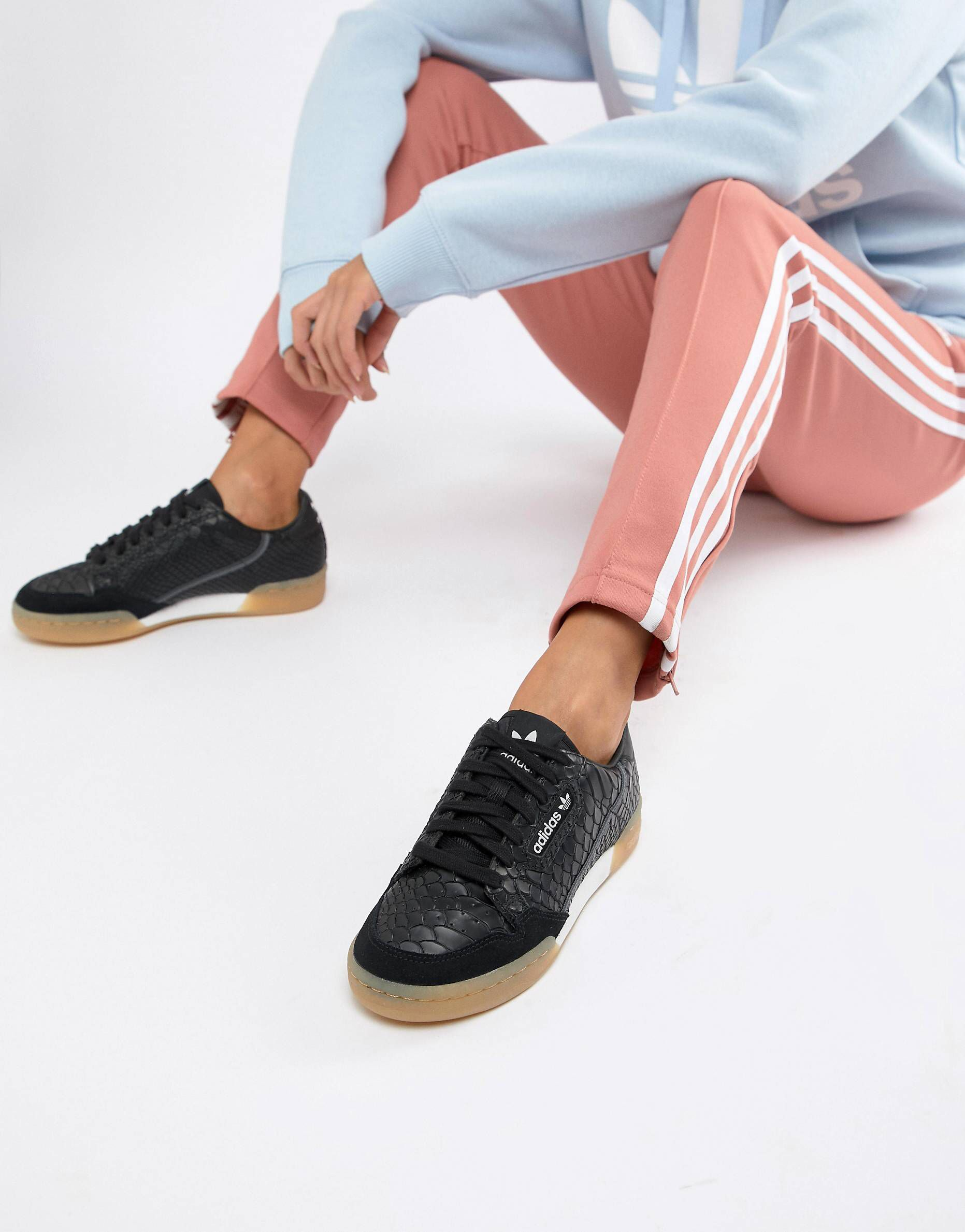 adidas Originals Continental 80's Sneakers In Black With Gum ...