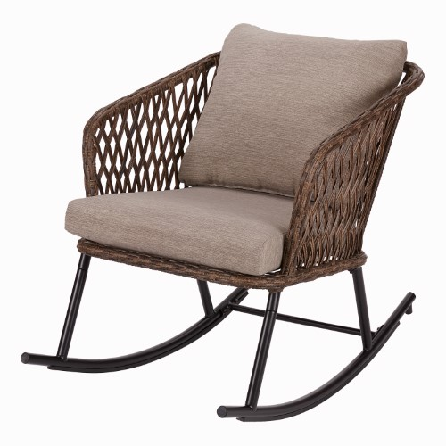 Tremendous Mainstays Battle Creek Patio Wicker Rocking Chair With Taupe Machost Co Dining Chair Design Ideas Machostcouk