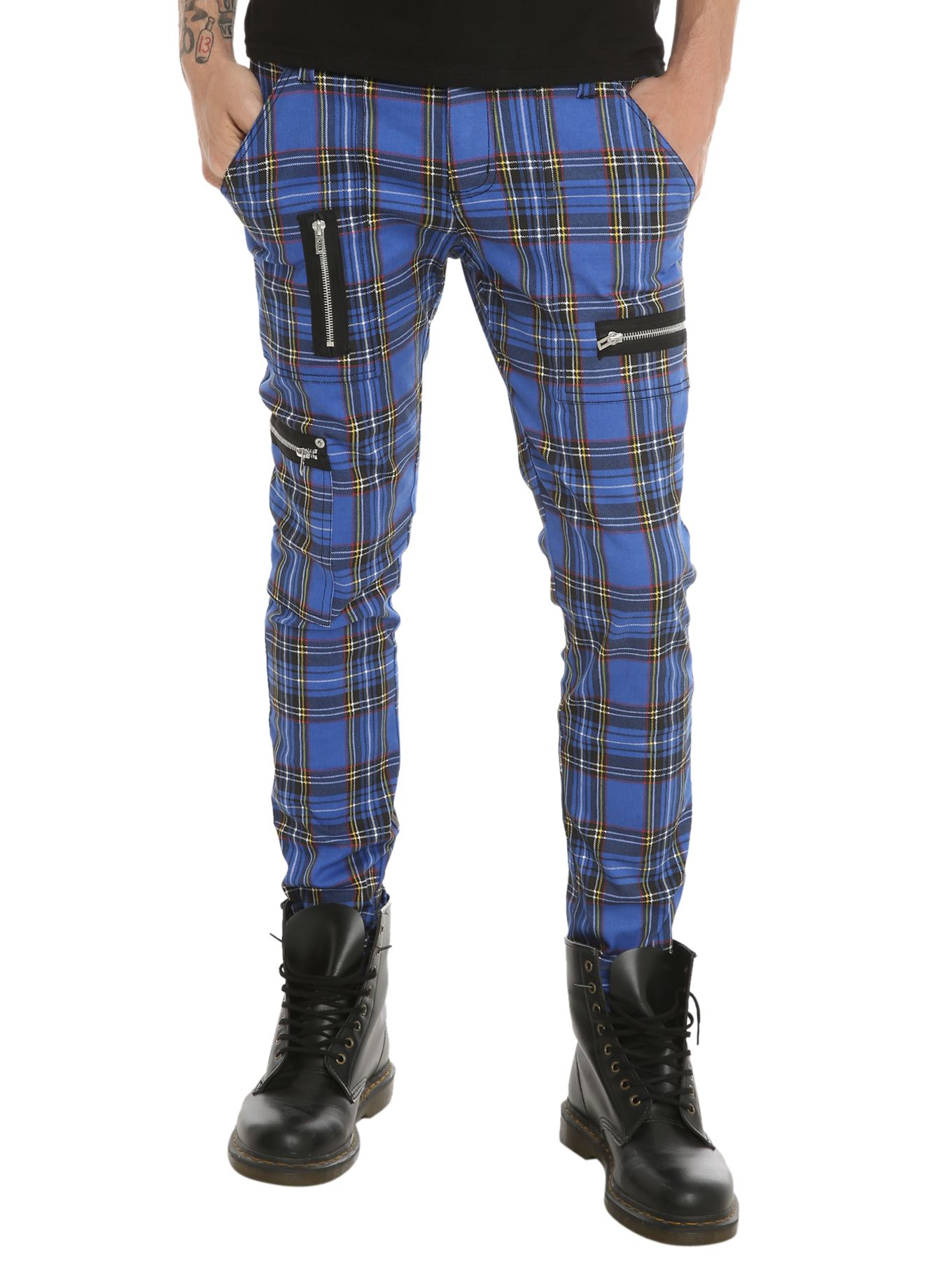 Royal Bones Blue Plaid Skinny Jeans | Hot Topic | Guy Fashion ...