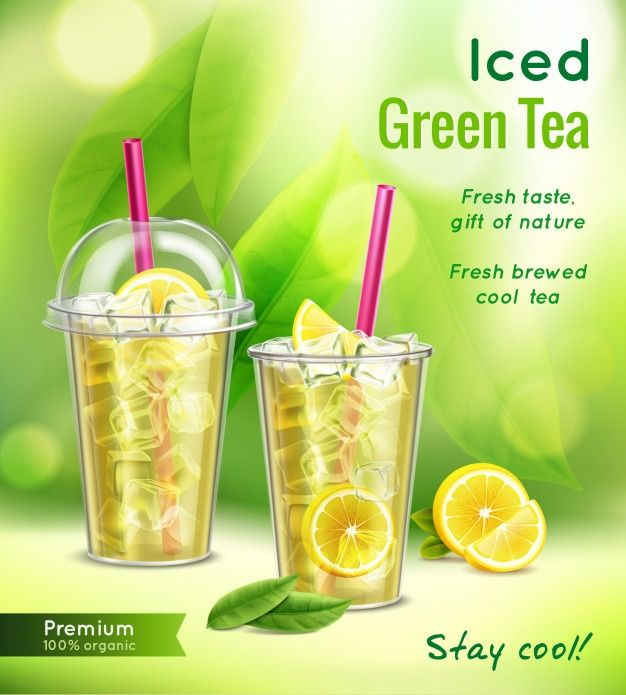 Photo of Download Iced Green Tea Realistic Advertising Composition With Full Glasses Mint Leaves Lemon  Vector Illustration for free