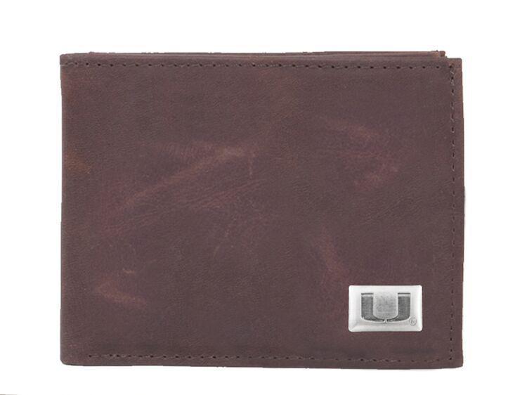 Miami hurricanes bifold wallet bi fold wallet leather