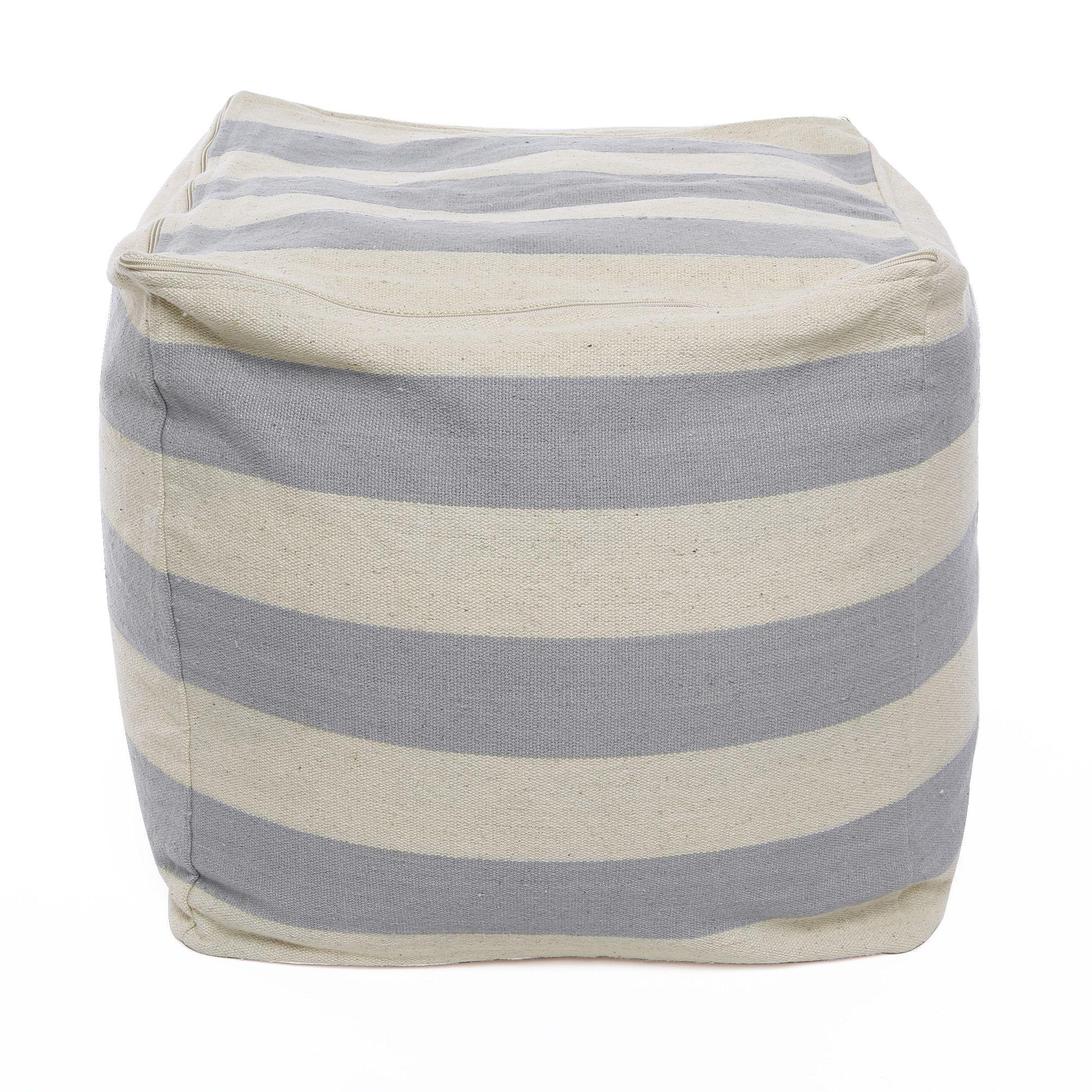 Bold Stripe Pouf Ottoman