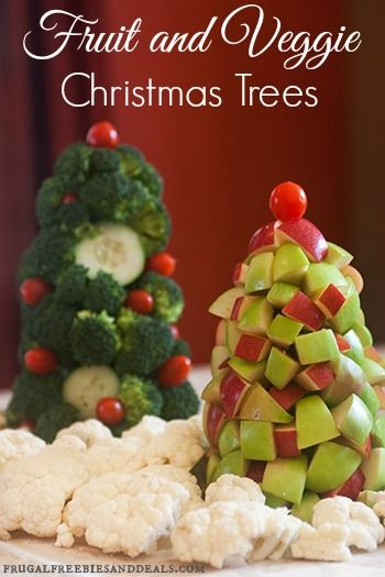 Healthy holiday fruit and veggie trees christmas