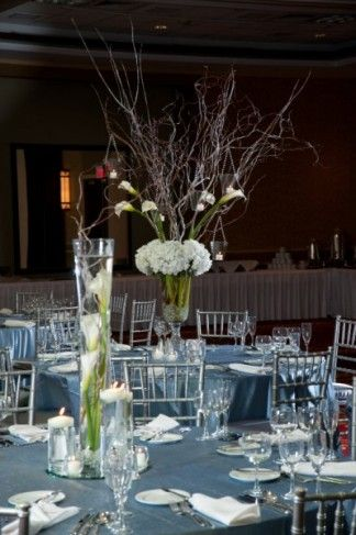 two centerpeice ideas - twigs in both, calla lilies with twigs. don ...