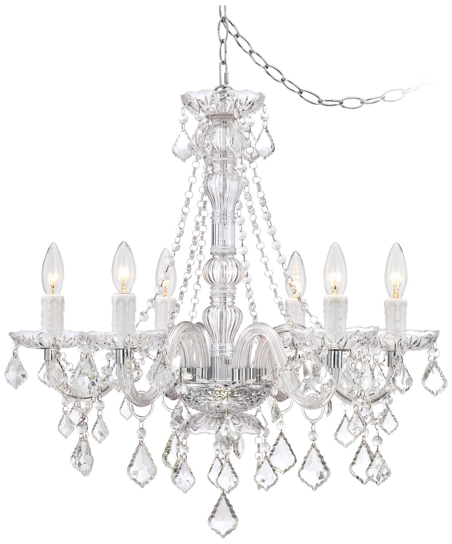 Anibal Clear Glass And Acrylic Plug In Swag Chandelier 8c505 Lampsplus Com Swag Chandelier Acrylic Plugs Chandelier