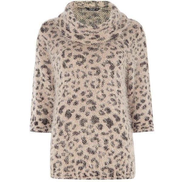 TIGI Furry Animal Print Jumper ($49) ❤ liked on Polyvore ...