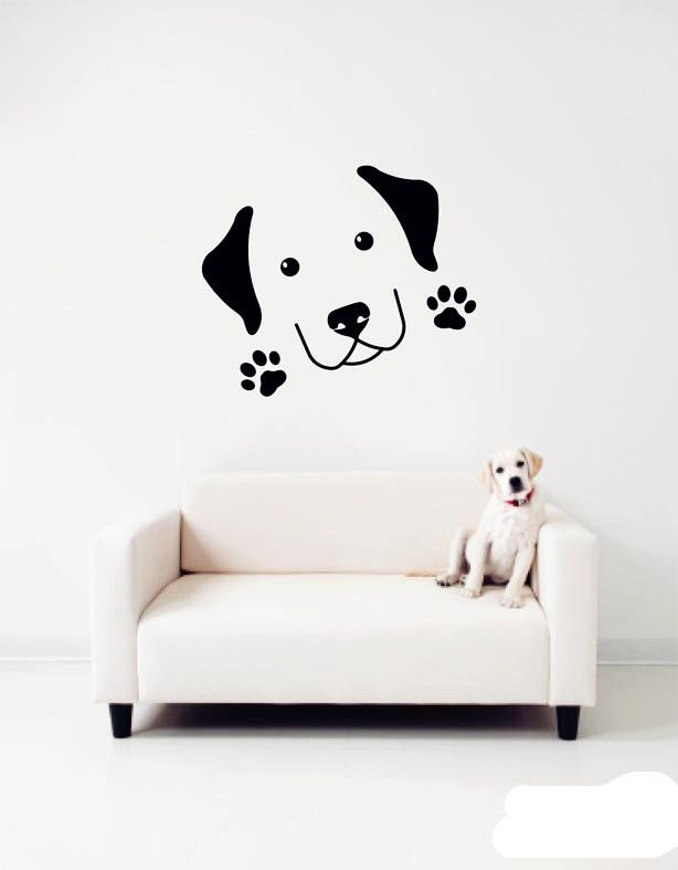 Home pet dog paw prints wall stickers cute labrador wall decalsremovable vinyl wall art