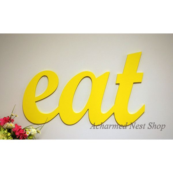 Eat Sign Wood Sign Wood Eat Monogram Kitchen Decor Home Decor Wooden... (135.040 COP) ❤ liked on Polyvore featuring home, home decor, wall art, centerpieces & table décor, home & living, kitchen & dining, kitchen décor, silver, painted signs and wood home decor