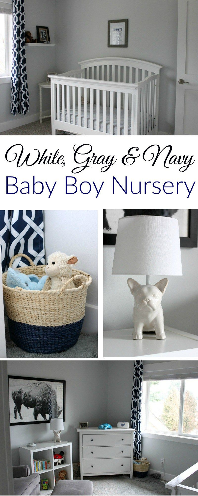 White Gray And Navy Baby Boy Nursery A Fit Mom S Life