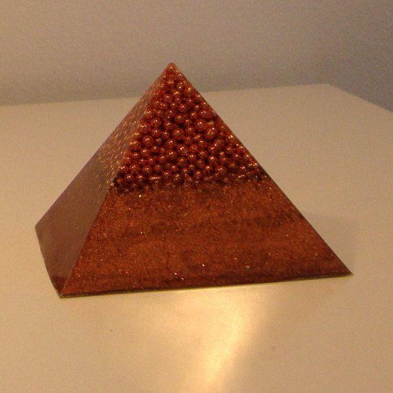 Orgone  orgonite Pyramid with gold plated MWO by OrgoniteCreations