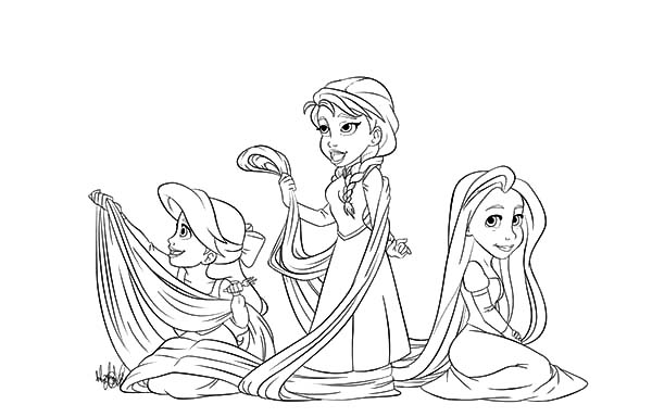 Ariel And Anna Laying With Rapunzel Hair Coloring Pages Best Place To Color Elsa Coloring Pages Rapunzel Coloring Pages Coloring Pages