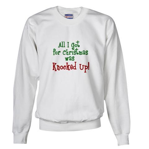 Knocked Up At Christmas  Pregnant Sweatshirt by CafePress