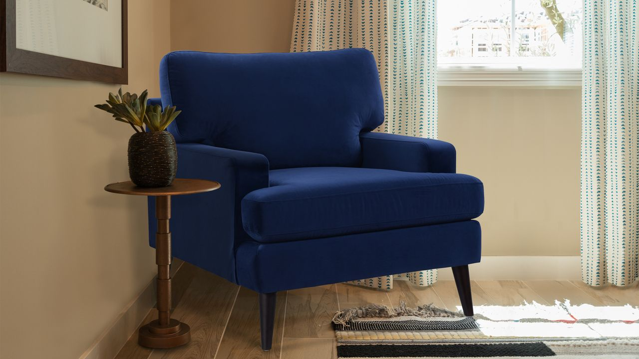 Enzo Lawson Accent Chair, Navy Blue Accent chairs, Blue
