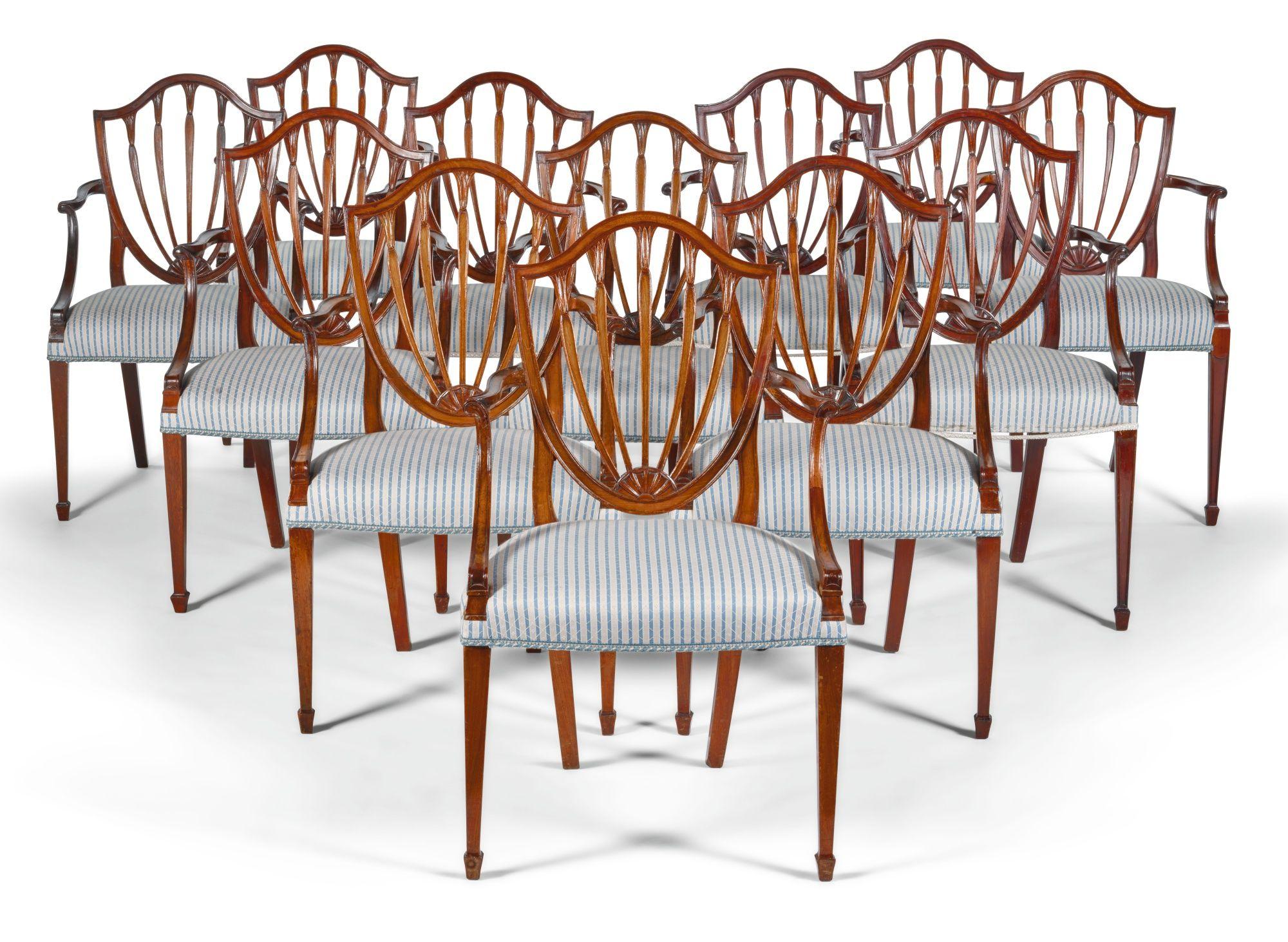 c1780 A set of twelve George III mahogany dining room armchairs ...