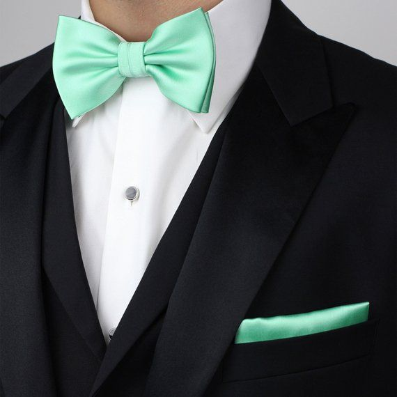f37d7e33a448 Mint Green Bow Tie Set | Bow Tie with Matching Pocket Square in Bright Mint  | Men's Bow Tie Size (pr