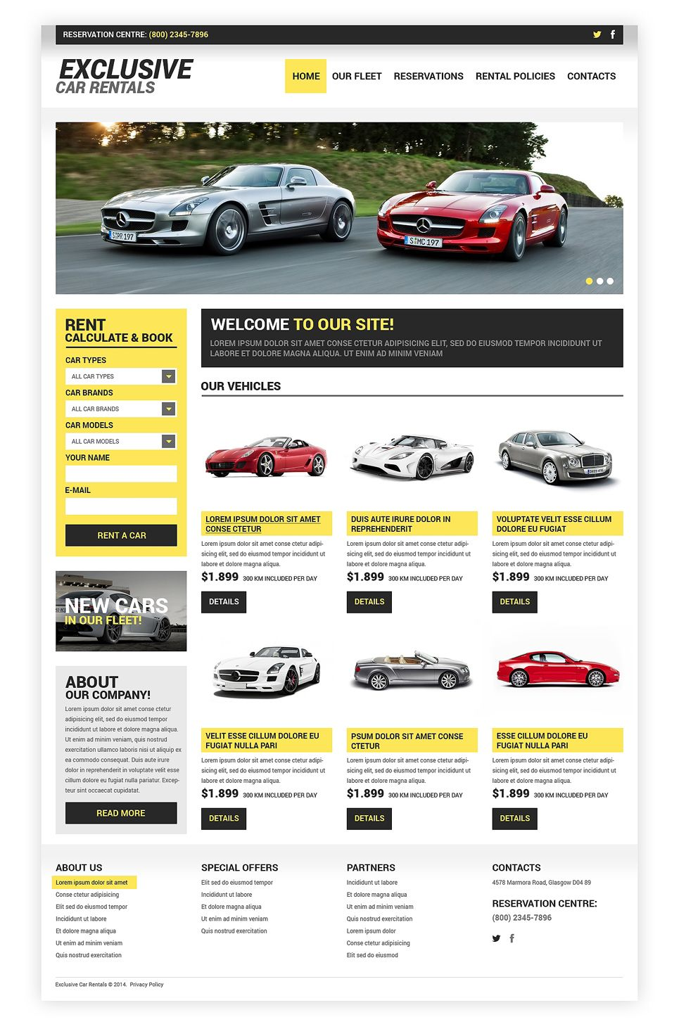 Rent Car Well Thought Out Car Rental Multipage Html Website