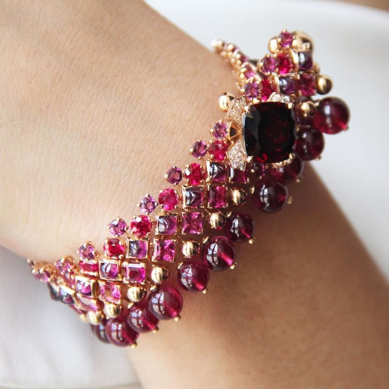 Chaumet pink and red high jewellery bracelet from the Aria Passionata suite, featuring a garnet, red tourmaline beads, pink tourmalines, rubies and diamonds.