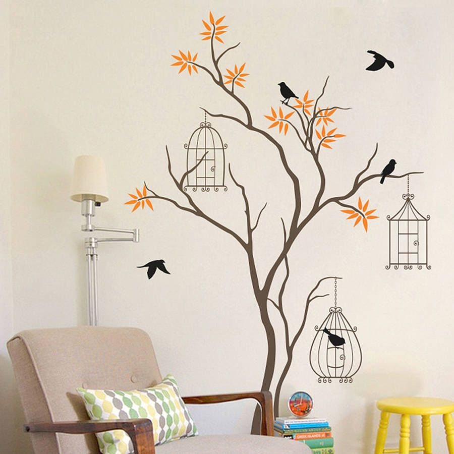 Tree with birds and birdcage wall decal in 2019 home deco tree
