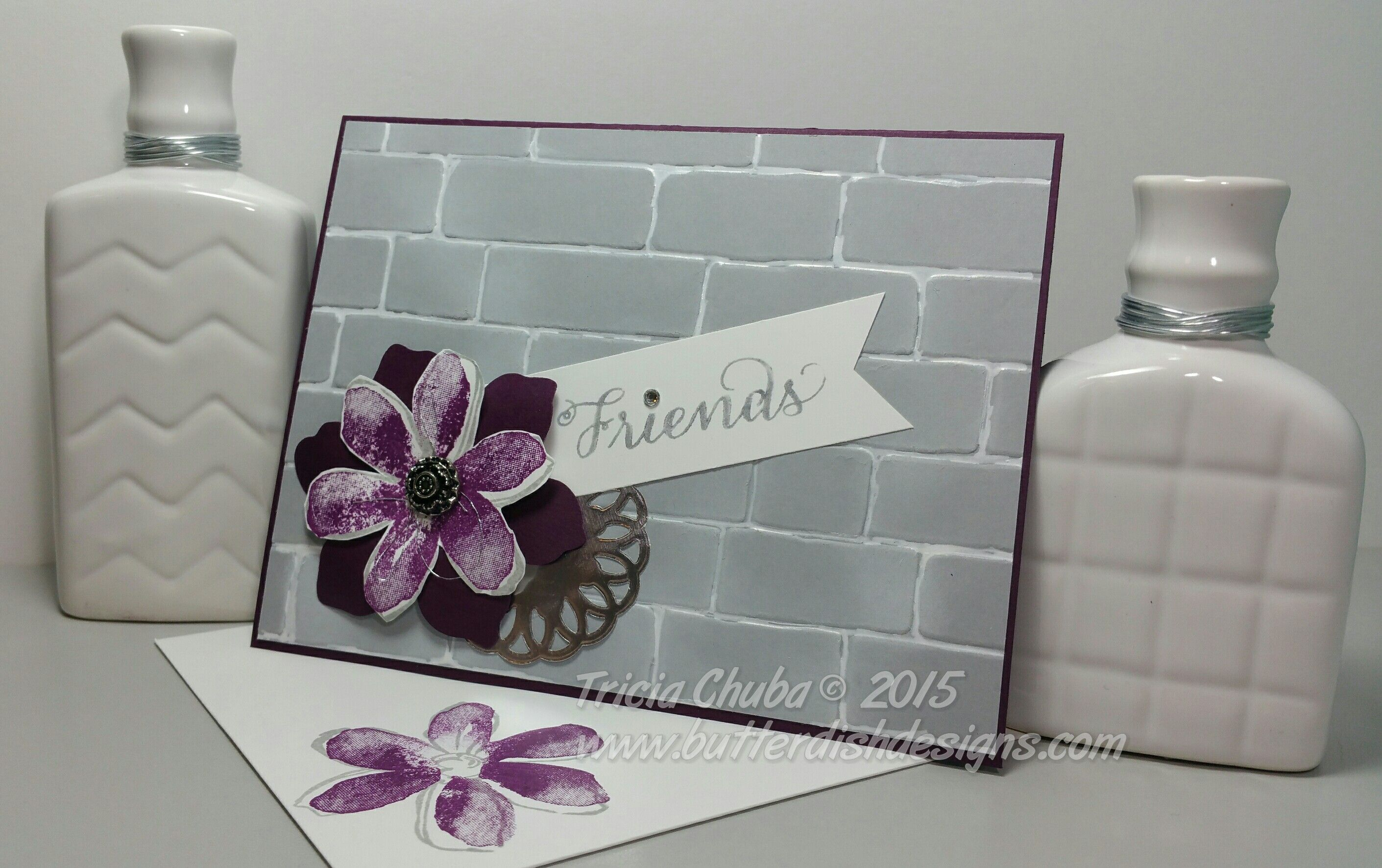 Blackberry Bliss Friends - Tip: Use a white gel pen to create mortar lines which adds depth and interest to this new embossing folder.  ButterDish Designs, Stampin'Up!, Garden in Bloom, Brick Wall Embossing Folder
