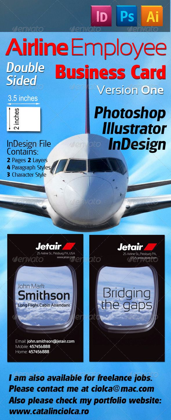 Airline Employee Business Card Version One | Business cards ...