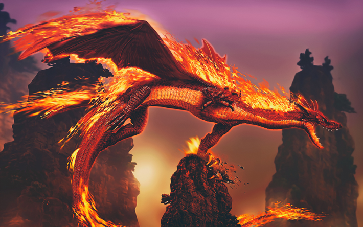 Download Wallpapers Dragon 4k Fire Flames Cliffs Burn Fire Dragons Monsters Besthqwallpapers Com Dragon Artwork Fire Dragon Digital Wallpaper