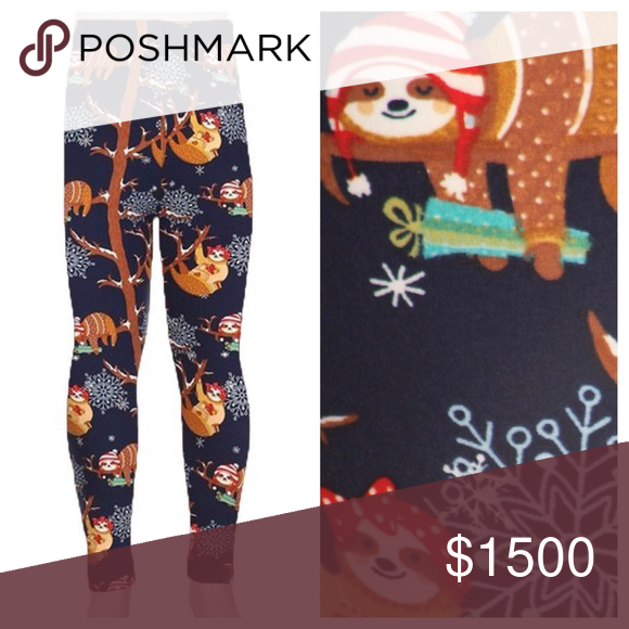d169e677c25077 COMING SOON Kids' holiday sloth leggings Sloth print leggings for the  holidays. Elastic waist. 92% polyester, 8% spandex. Price will be reduced  to $15 when ...