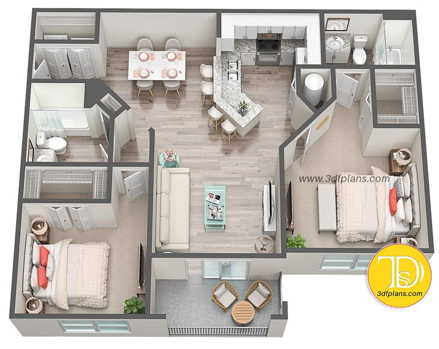 2 Bedrooms 3d Floor Plan Small Apartment Floor Plans Apartment Floor Plans Apartment Layout