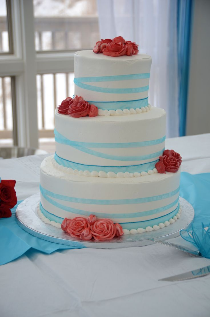 Ideas For Your Wedding Cake Malibu Blue Ribbon Coral