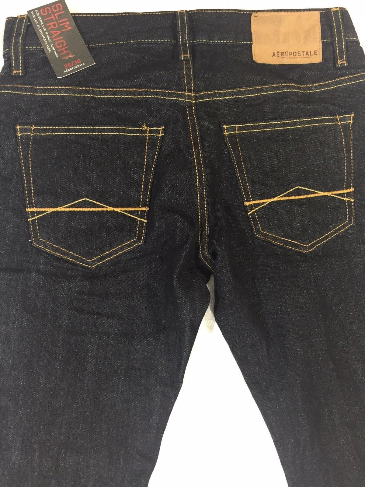 Mens Aeropostale Jeans Slim Straight 28x30 Button Fly Dark Wash Denim Nwt Ebay Mens Jeans Mens Jeans Pockets Jeans