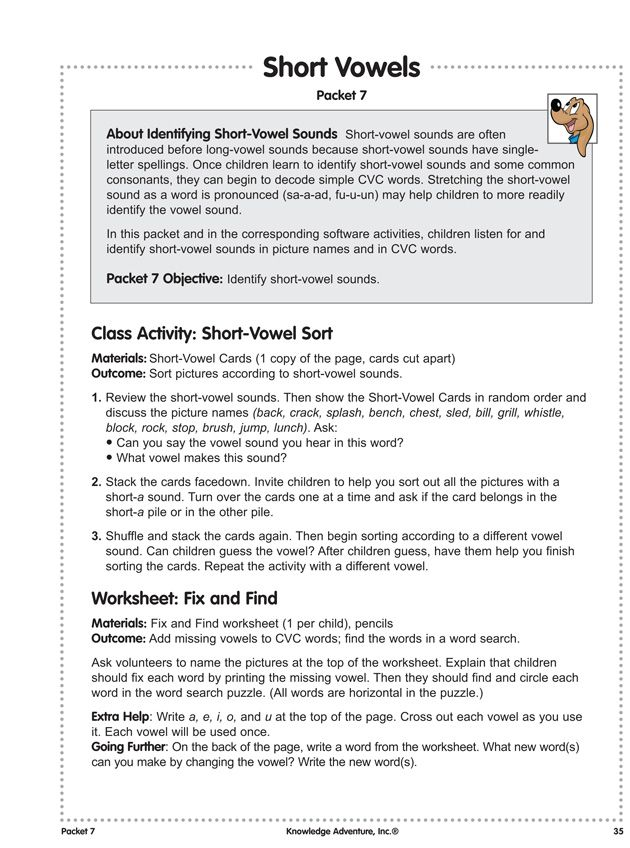 Short Vowels - Free, Fun Reading Lesson Plans  Worksheets - lesson plan words