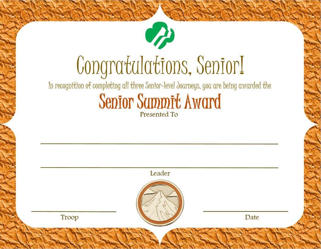 Senior Summit Award Certificate