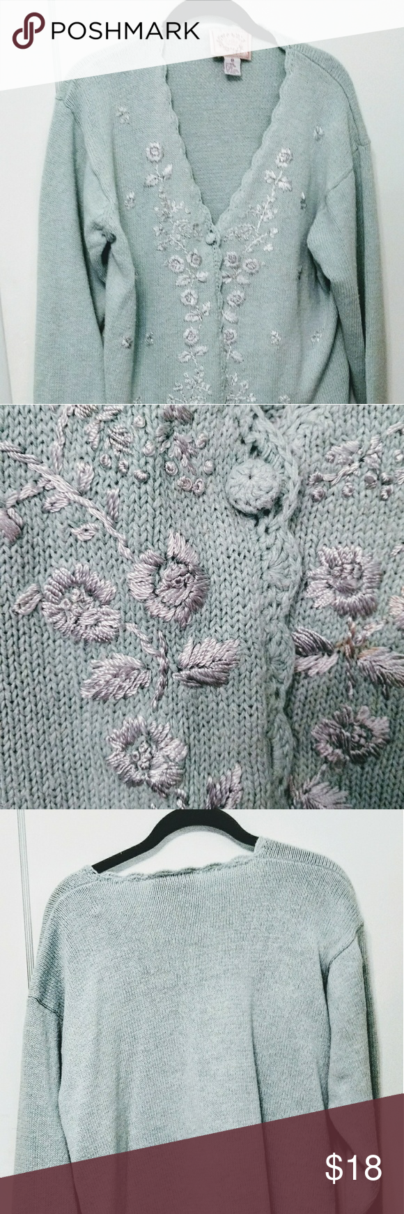 Erika Petite Light Green Cardigan Sweater | Green button, Floral ...
