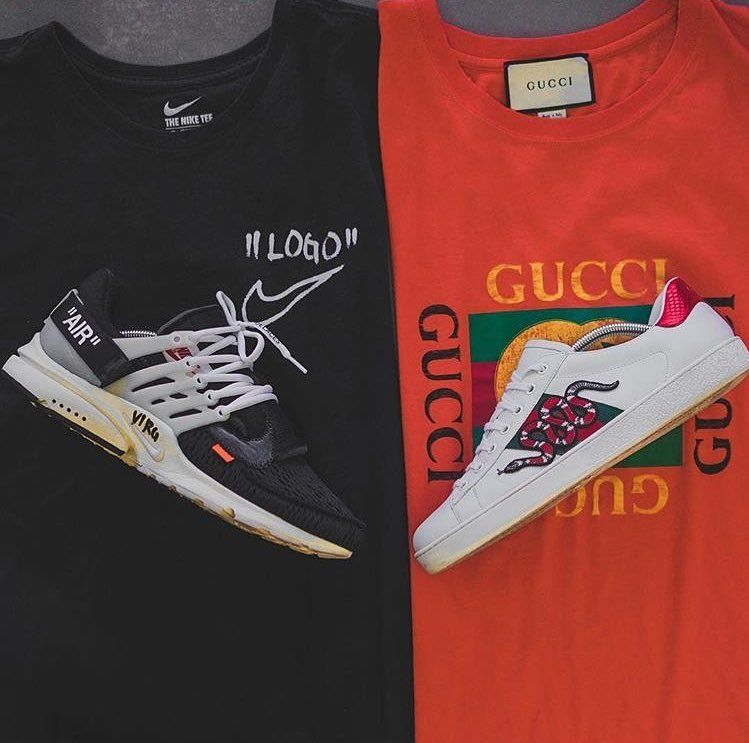 Off White X Gucci Mens Streetwear Sneakers Shoes Outfit