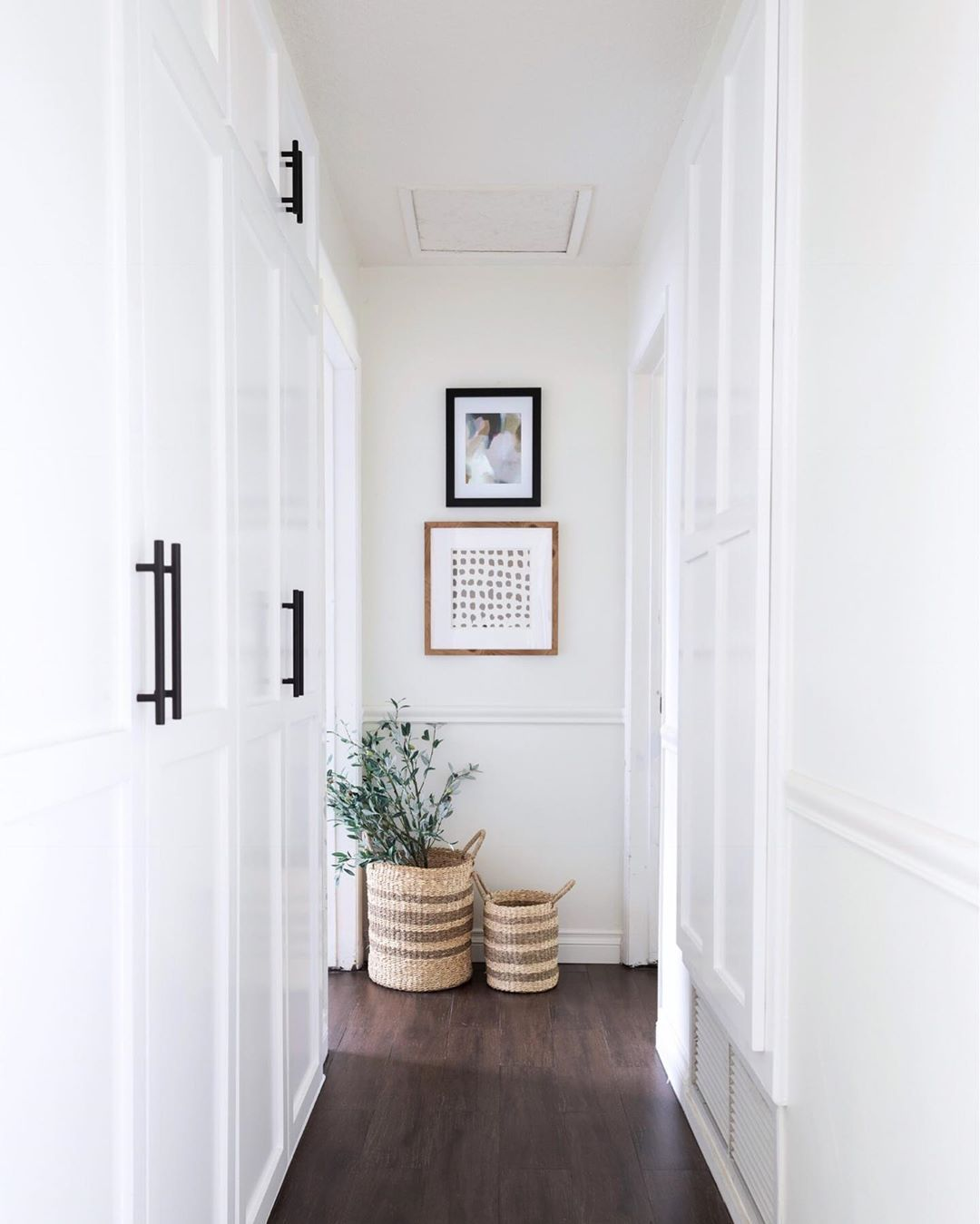 "KATIE STAPLES on Instagram: ""Gave our hallway a mini makeover with a few things I had around the house! I'm thinking an art lamp above the prints would be the perfect…"" #hallway"
