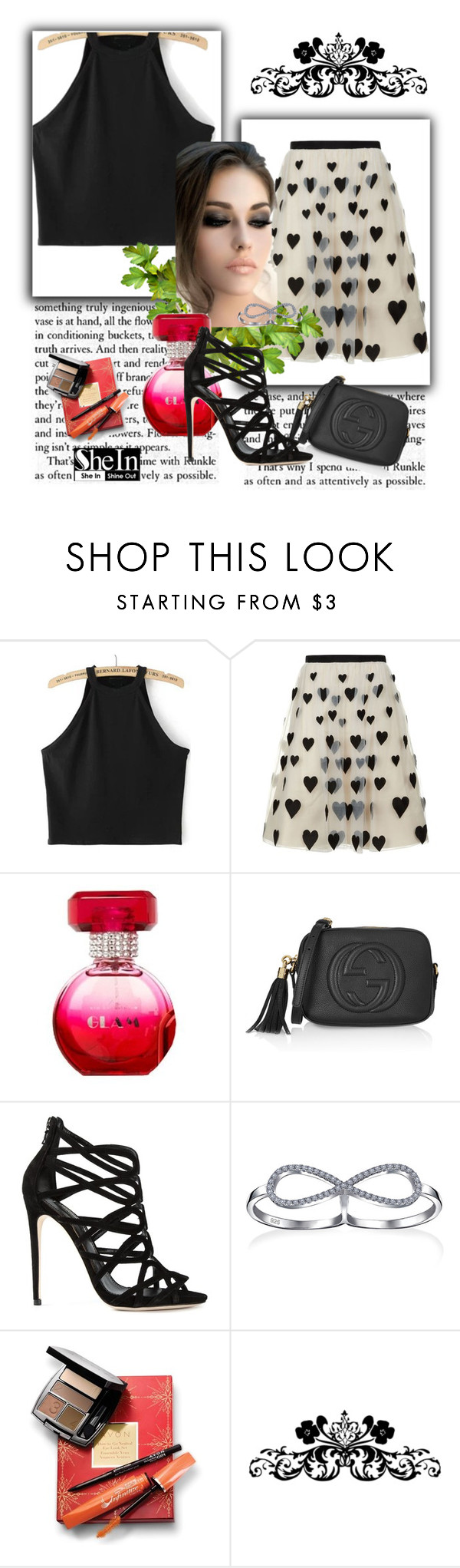 """""""Black Tank Top Shein"""" by dudavagsantos ❤ liked on Polyvore featuring Alice + Olivia, Gucci, Dolce&Gabbana, Bling Jewelry, Avon and shein"""