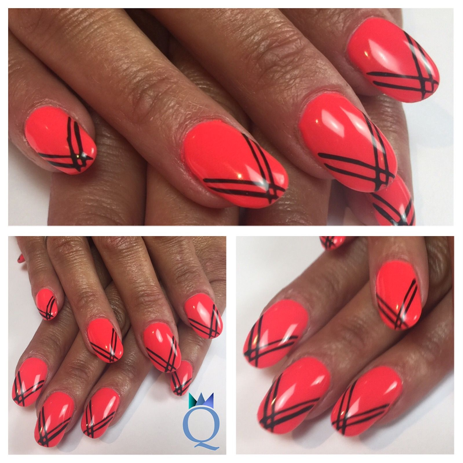 gelnails #nails #neonred #akyado #black #stripes #gelnägel #nägel ...