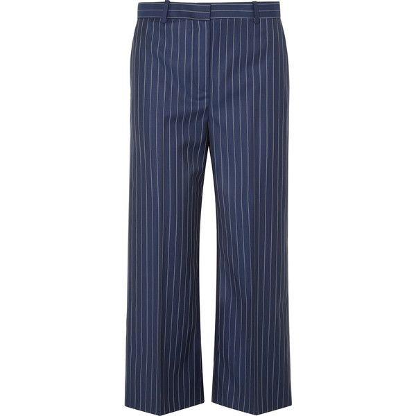 af346c902 Versace Cropped striped wool-twill wide-leg pants ( 675) ❤ liked on  Polyvore featuring pants